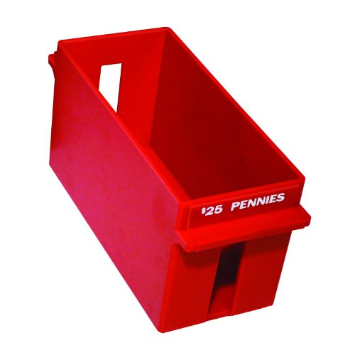 MMF Industries Porta-Count Extra-Capacity Rolled Coin Penny Storage Tray, 25 Dollar Capacity, Red (212070107)