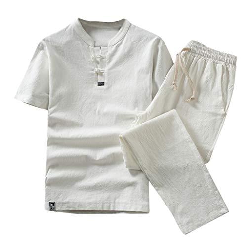 Plus Size Outfits Sets for Men, Summer Casual Solid Color Cotton Linen 2 Piece Outfits T-Shirt and Pants Beach Set (White, XXXL)