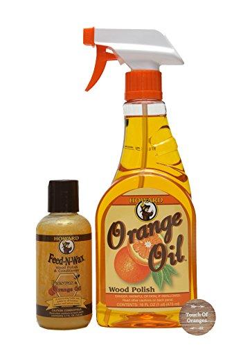 Howard Feed-N-Wax Wood Preserver 4.7 oz and Howard Orange Oil Wood Cleaner 16oz, Complete Wood Care, Clean Kitchen Cabinets, Orange Wood Cleaner