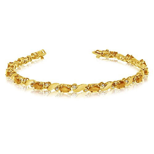 (1.95 Carat (ctw) 14k Yellow Gold Oval Yellow Citrine and Diamond Swirl Tennis Bracelet - 7