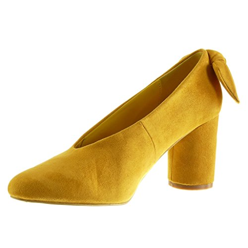 Angkorly - damen Schuhe Pumpe - Slip-On - Dekollete - Knoten Blockabsatz high heel 7.5 CM Gelb