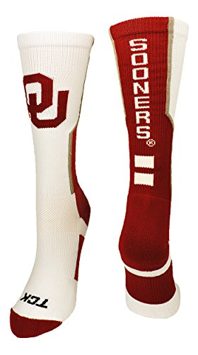 TCK Sports Oklahoma Sooners Perimeter Crew Socks (Crimson/Grey/White, Small) ()
