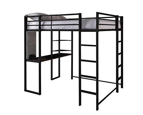 DHP Abode Full-Size Loft Bed Metal Frame with Desk and Ladder, Black - Finished Loft Bed
