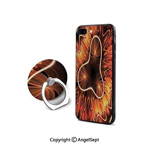 (Protective Case for iPhone 8/iPhone 7 with Ring Holder Kickstand,Abstract Electromagnetic Waves Textured Dynamic Effects Artful Graphic Image,for Girls,Vermilion Copper)