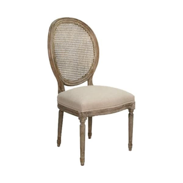 Zentique B004 Cane E272 A003 Medallion Side Chair with Cane Back, Limed Grey Oak/Natural Linen