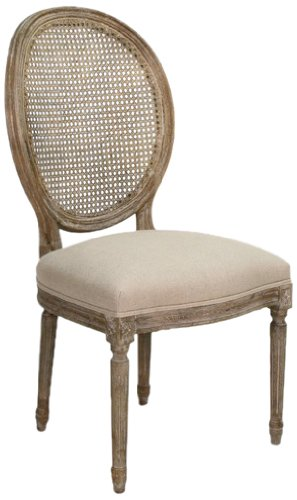 (Zentique B004 Cane E272 A003 Medallion Side Chair with Cane Back, Limed Grey Oak/Natural Linen)