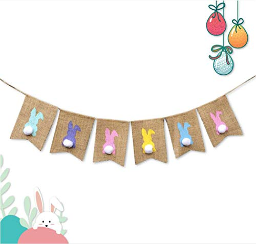 6.5ft Easter Rabbit Burlap Banners Garland Flags Party Decorative Ornaments from AISION