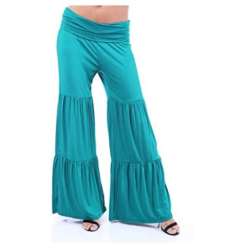 - coollight Women's Wide Leg Flowy Palazzo Pants,High Waist Palazzo Wide Legs Capri Pants(Blue Large)