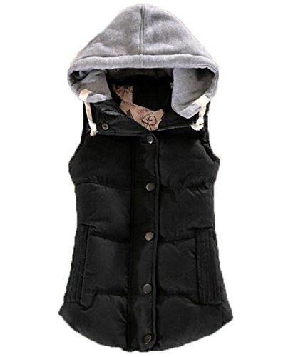 アクチュエータ知性注釈を付けるアイビエツ(AIBIETU) レディース ダウンベスト ショート丈 中綿 ベスト カジュアル 防寒着 フード付き 中綿 ベスト
