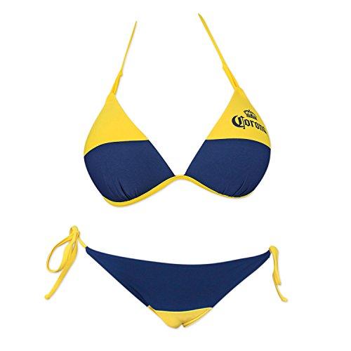 Corona Extra Blue And Loop Knot Molded Triangle String Bottom Bikini Small Yellow