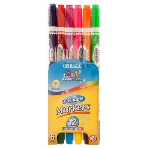 MARKERS 6PC WASHABLE DOUBLE SIDED Bazic