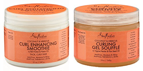 (Shea Moisture Coconut and Hibiscus Combo Pack, Curl Enhancing Smoothie 12 Ounce & Gel Souffle 12 Ounce)