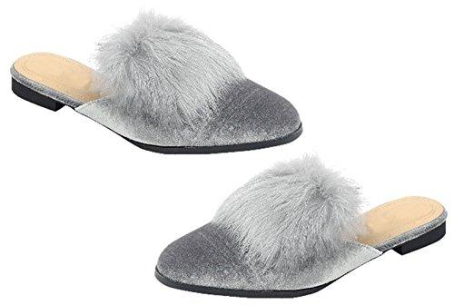 TravelNut Easter Sale Victoria Pointed Toe Fur Slip On Loafer Slipper Shoe For Women (Assorted Colors) Velvet Grey ZzMgdoLx