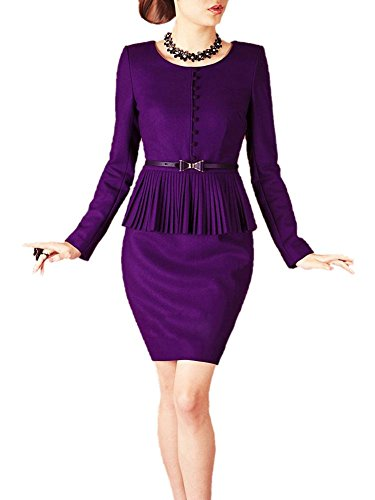 Buy belted peplum sheath dress - 6