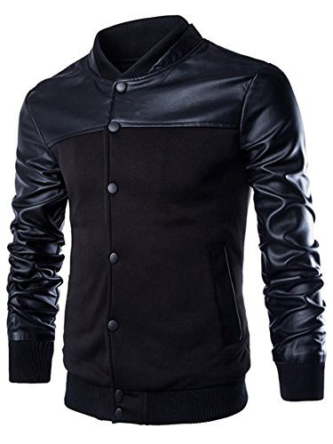 Neleus Men's Stand Collar Leather Sleeves Slim Fit Jacket,0205# Black,US M,Asia 2XL - Denim Varsity Jacket