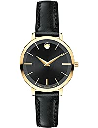 Womens Ultra Slim 28mm Black Leather Band Gold Plated Case Swiss Quartz Analog Watch 0607095
