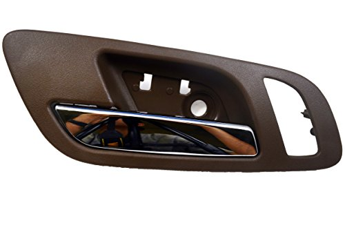 PT Auto Warehouse GM-2546MBFL2 - Inside Interior Inner Door Handle, Brown (Cashmere) Housing with Chrome Lever - with Memory and Heated Seat Hole, Driver Side (Brown Interior Door Handle Driver)