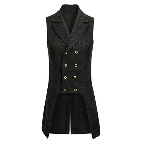 COSFLY Men Double Breasted Lapel Collar Waistcoat Jacquard Vest Gothic Steampunk (Black, -