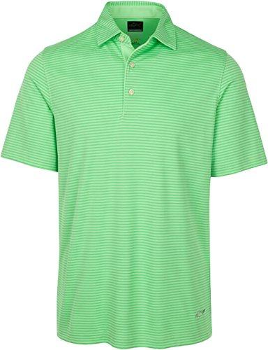 PGA Greg Norman Men's Protek Micro Pique Stripe Polo, X-Large, Island - Green Polo Sport