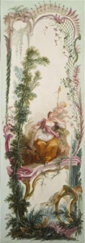 Oil Painting 'Jacques De LaJoue (attributed To) - Seven Decorative Panels Mounted In A Screen - Shepherdess Asleep, C. 1730-40' 18 x 51 inch / 46 x 130 cm , - Coupon Code Megabus