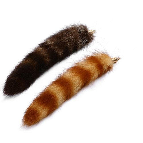 Huloo Raccoon tail fox tail +yellow raccoon fox tail 10-12in (Racoon Tail)