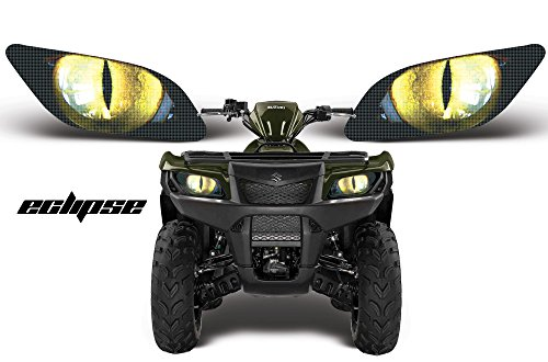 AMR Racing ATV Headlight Eye Graphic Decal Cover for Suzuki King Quad 500 AXi 13-15 - Eclipse Yellow (Atv Accesory compare prices)