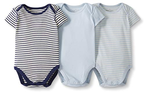 Moon and Back by Hanna Andersson Baby 3-Pack Organic Cotton Short Sleeve Bodysuit, Blue, - Short Bodysuit Newborn Sleeve