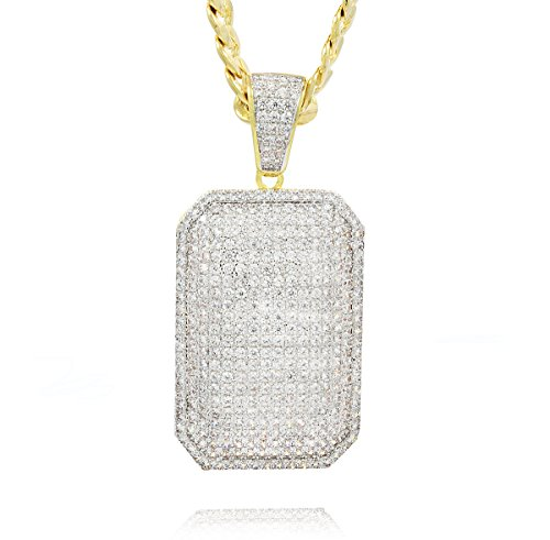 L & L Nation Men's Gold Tone New Fully Iced Out CZ Dog Tag Pendant Hip-hop with 5mm 24