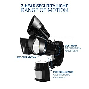 Hyperikon LED Security Light, Black, 30W (125W Equivalent) Outdoor Motion Sensor Light, 2700lm, 5000K (Crystal White Glow), Waterproof IP65, UL, CRI 80, Adjustable Head, 120v