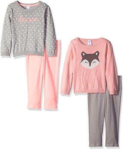 Carter's Girls' 4-Piece Sweater and Legging Set, Pink/Grey, 3 (Carters Knit Set)