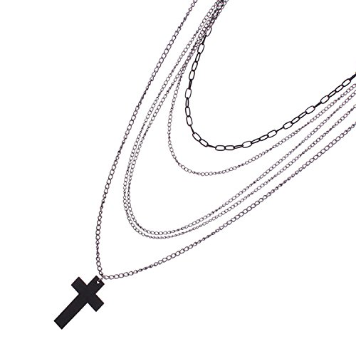 Young & Forever Women's Valentine Gifts Special Multilayer Tassel Cross Pendant Necklace Silver Toned by Young & Forever