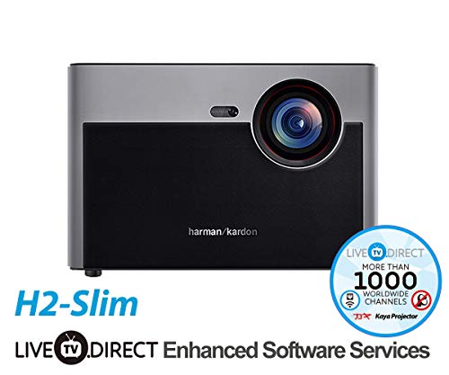 Native 1080p Projector, LiveTV.Direct for H2-Slim Home Cinema Android Smart 3D Projector TV Auto Focus Built-in Harman/Kardon Customized HiFi Stereo with English Enhanced Software Services