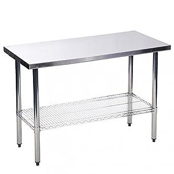 Amazon.com: BestMassage Kitchen Work Table Stainless Steel 24x48 ...