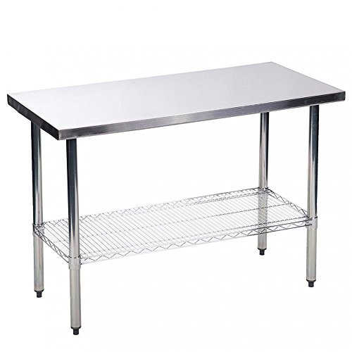 BestMassage Kitchen Work Table Stainless Steel 24x48 inch Work Table Heavy Duty Commercial Home Kitchen Prep Restaurant Wire Lower Shelf Adjustable Bullet Feet Table by BestMassage