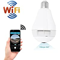 Quanmin HD 360° Wide Angle Fisheye Wireless Wi-fi E27 LED Light Bulb VR Panoramic IP Camera For Phone APP Two Way Audio Talk Remote Real Time Monitoring Spy Home Security CCTV Camera System (960P)