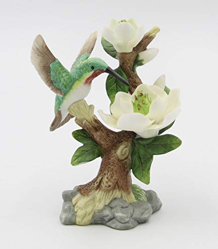 (Cosmos Gifts Fine Elegant Porcelain Hummingbird with Magnolia Flowers Figurine, 5-1/2