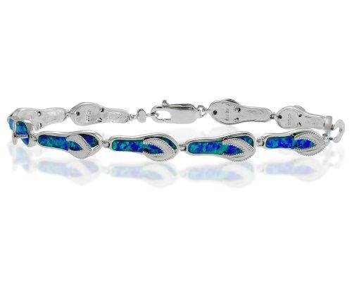 Sterling Silver 7.5'' Created Blue Opal Flip-Flop Link Bracelet by Beaux Bijoux