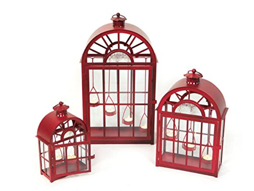 Set of 3 Eco Country Red Christmas Tea Light Candle Lanterns by Melrose
