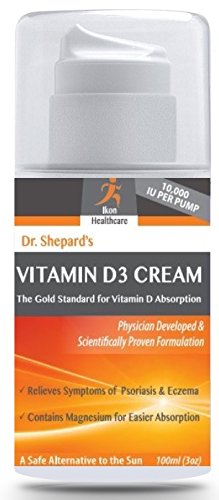 Dr. Shepards Vitamin D3 Cream ● Cream Improves Psoriasis, Skin, Bone, and Muscle Health ● Contains Clinically Proven D3 with Magnesium ● 100% Made in USA. Works Rapidly to Improve Skin Health