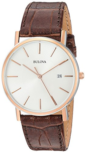 Bulova Men's 98H51 Stainless Steel Dress Watch With Croco Leather (Bulova Watch)