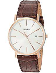 Bulova Mens 98H51 Stainless Steel Dress Watch With Croco Leather Band