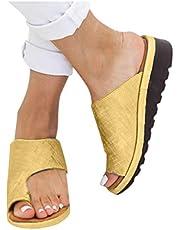 Sandalias correctoras de juanetes, cómodas sandalias correctoras de juanetes, suela plana de piel sintética, sandalias de cuña ligeras
