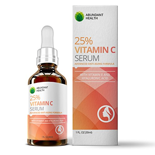 25% Vitamin C Serum with added Vitamin E and Hyaluronic Acid for Youthful looking Skin - A Pure & Potent Topical Skin Treatment For Face and Neck - Formulated with Collagen and Aloe Vera for Maximum Benefits - Helps Lighten Dark Spots Smooth Wrinkles...