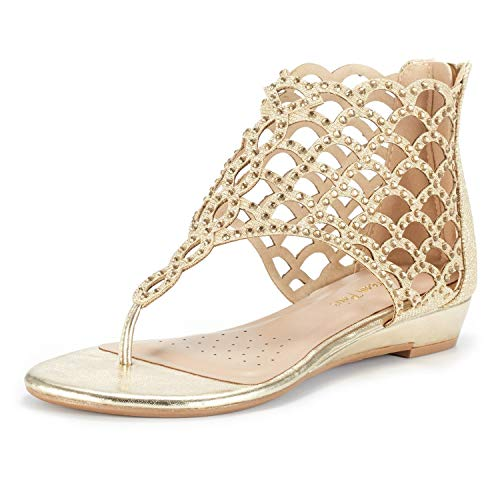 DREAM PAIRS Women's Jewel_08 Gold Rhinestones Design Ankle High Flat Sandals Size 11 M US (Gold Sandals Size 11)