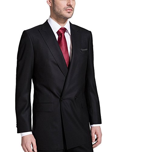 Double Breasted Jacket Tuxedo Peak (HBDesign Mens 1 Piece 1 Button Peak Lapel Slim Fit Double Breasted Tux Black)