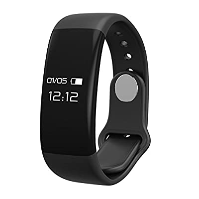 Black Smart Bracelet with Heart-rate Monitor. ANDROID and IOS COMPATIBLE, Bluetooth Fitness Tracker, Waterproof