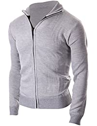 Men's sophisticated Zip Up Slim Fit Long Sleeve Turtleneck Cardigan Sweater