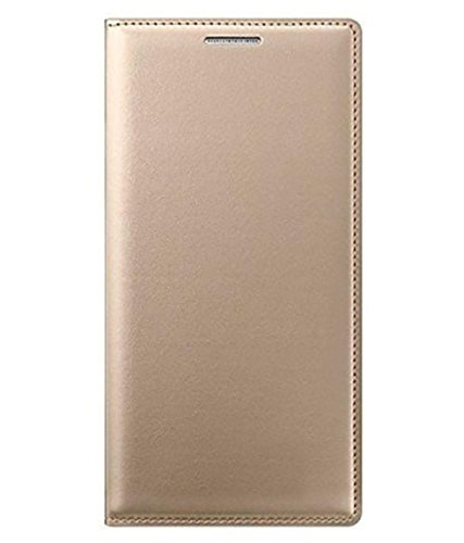 SmartLike Lyf Flame f8 Gold Leather Flip Cover for Lyf Flame f8 Gold Mobile Accessories