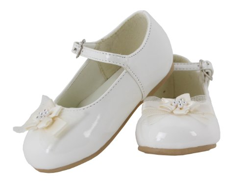 Ivory Leather Shoes (Betty Patent Leather Flower Mary Jane Shoes for Toddlers (Ivory, Toddler 6))