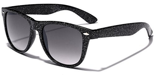Colorful Wayfarer Retro Fashion Ladies Glitter Sunglasses - (Glitter Womens Sunglasses)